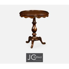 Round Rustic Walnut Lamp Table