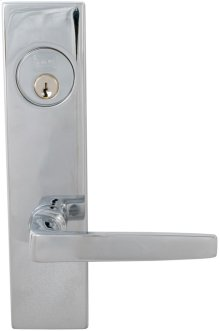 Exterior Modern Mortise Entrance Lever Lockset with Plates in (US26 Polished Chrome Plated)