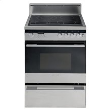 This freestanding range combines the convenience of a self cleaning pyrolytic oven with the control and precision of an integrated ceramic cooktop.  A fresh, clean look reflects the latest design philosophies from Europe, featuring refined control knobs and easy to follow icons on a simple designer control panel.