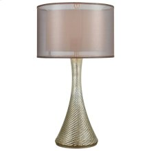 Dorothy Table Lamp In Antique Mercury Glass With Bronze Organza Shade and Gold Inner Shade