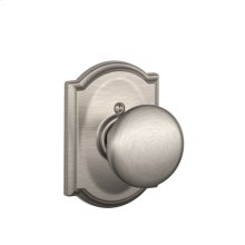 Plymouth Knob with Camelot trim Non-turning Lock - Satin Nickel