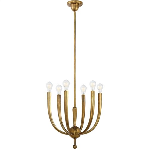 Visual Comfort S5395HAB Ian K. Fowler French Horn Deco 6 Light 15 inch Hand-Rubbed Antique Brass Chandelier Ceiling Light