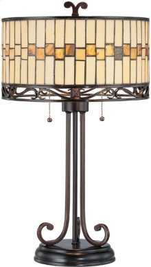 Table Lamp - Dark Bronze/tiffany Shade, E27 Cfl 13wx2
