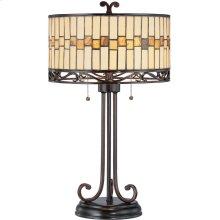 Table Lamp - Dark Bronze/tiffany Shade, E27 Cfl 13wx2