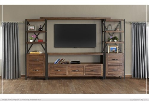 TV Stand w/ 3 Drawer, Includes wire management on back panel.