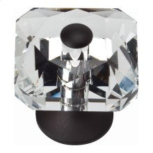 Crystal Large Square Knob 1 1/2 Inch - Matte Black
