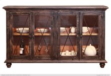 HOT BUY CLEARANCE!!! 70in Console 4 Glass doors & wire managment on back panel