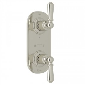 """Polished Nickel Perrin & Rowe Edwardian 1/2"""" Thermostatic/Diverter Control Trim with Edwardian Metal Lever"""