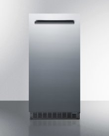"""15"""" Wide 62 Lb. Built-in Undercounter Commercially Listed Indoor/outdoor Clear Icemaker With Gravity Drain and Complete Stainless Steel Exterior Finish"""