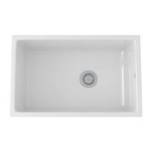 White Allia Fireclay Single Bowl Undermount Kitchen Sink