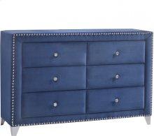 """Caroline Navy Velvet Dresser - 63""""L x 18""""D x 38""""H"""