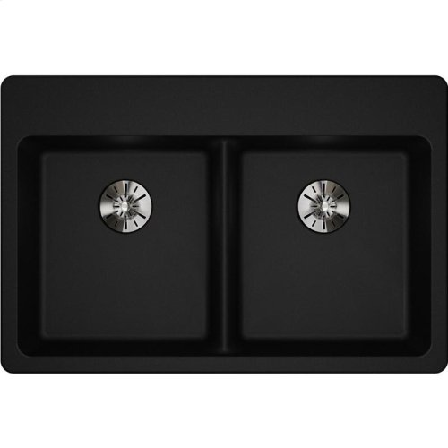 "Elkay Quartz Classic 33"" x 22"" x 5-1/2"", Drop-in ADA Sink with Perfect Drain, Black"