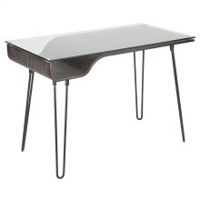 Avery Desk - Dark Grey Wood, Clear Glass, Black Metal