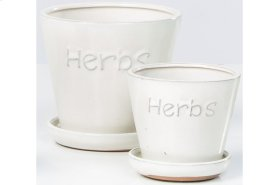 White Herbs Petits Pots with Attached Saucer - Set of 2