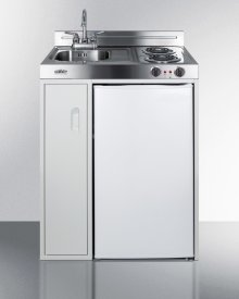 30 Inch Wide All-in-one Kitchenette With 2-burner 115v Coil Cooktop, Refrigerator-freezer, Sink, and Storage Cabinet