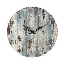 Wooden Roman Numeral Outdoor Wall Clock in Belos Dark Blue