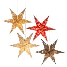 Patterned Star Hanging Pendant. (4 pc. ppk.)