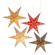 Patterned Star Hanging Pendant. (4 pc. ppk.)