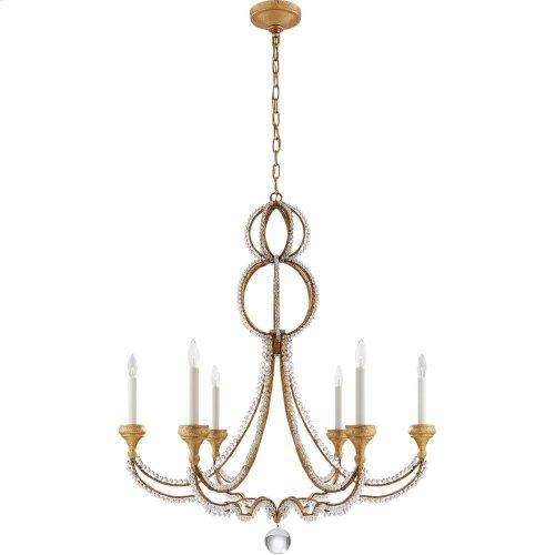 Visual Comfort NW5031VG Niermann Weeks Milan 6 Light 38 inch Venetian Gold Chandelier Ceiling Light, Niermann Weeks, Large, Clear Crystal