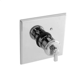 Flat-Black Square Thermostatic Trim Plate with Handle