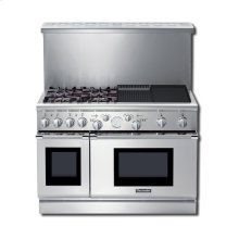 """48"""" PRO GRAND® DUAL-FUEL RANGE WITH 4 STAR® BURNERS (2 W/ EXTRALOW®) ELECTRIC GRIDDLE & GAS GRILL"""