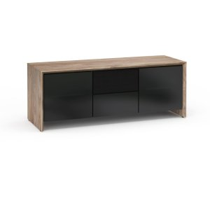 Salamander DesignsBarcelona 236, Triple-Width AV Cabinet, Natural Walnut with Black Glass Doors
