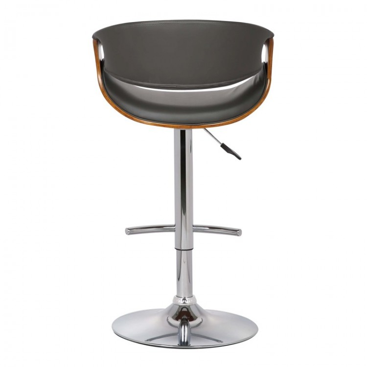 Ordinaire Armen Living Butterfly Adjustable Swivel Barstool In Gray Pu With Chrome  Finish And Walnut Wood