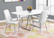 "DINING TABLE - 36""X 60"" / WHITE / CHROME METAL"