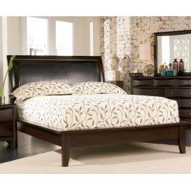 Phoenix Deep Cappuccino Queen Platform Bed With Faux Leather Panel Headboard
