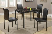 5 Piece Dining Set, Faux Marble Top, Metal Frame
