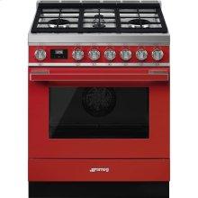 "Portofino Pro-Style All-Gas Range, Red, 30"" X 25"""