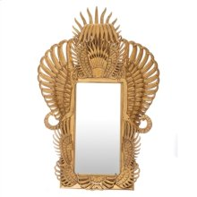 SATINA GOLD GILT CAST RESIN PH OENIX MIRROR WITH VINTAGE SI LVER BRASS ACCENTS