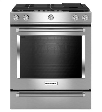 KitchenAid(R) 30-Inch 5-Burner Dual Fuel Convection Front Control Range with Baking Drawer - Stainless Steel