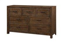 7 Drawer Dresser-burnished Pine Finish