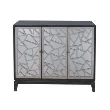 Fractal Accent Three Door Mirrored Console in Black & Silver