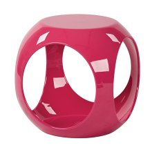 Slick Accent Table With High Gloss Pink Finish & See -through Storage By Ave Six
