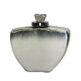 Flat White/silver Glass Jar
