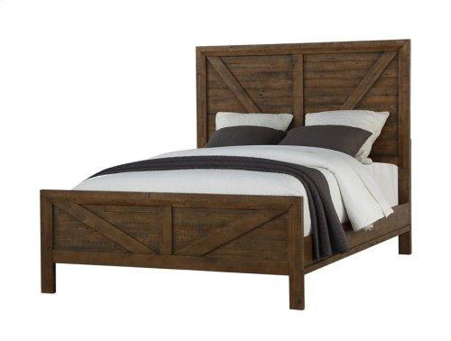 Complete Panel 6/6 E King Bed-hb-fb-siderails & Slats-burnished Pine Finish
