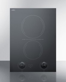 """15"""" Wide 230v 2-burner Radiant Cooktop Made In France With Black Ceramic Glass Surface and Sized for 12 3/8"""" W X 19 3/8"""" D Cutouts"""