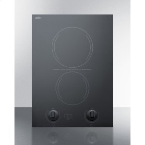 """Summit15"""" Wide 230v 2-burner Radiant Cooktop Made In France With Black Ceramic Glass Surface and Sized for 12 3/8"""" W X 19 3/8"""" D Cutouts"""