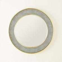 Round Shagreen Mirror-Sea Foam Grey