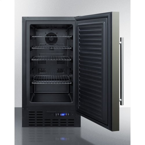 """18"""" Wide ADA Compliant Built-in Undercounter All-refrigerator With A Black Stainless Steel Door, Black Cabinet, Digital Thermostat and Front Lock"""