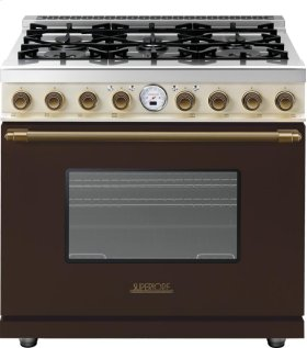 Range DECO 36'' Classic Brown dual color, Bronze 6 gas, electric oven, self-clean