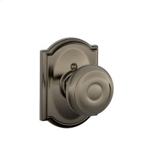 Georgian Knob with Camelot trim Non-turning Lock - Antique Pewter