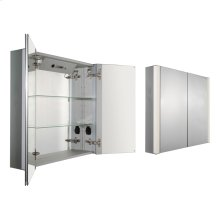 Musichaus double door anodized aluminum cabinet with USB, SD card, and Bluetooth compatibility, FM radio, four built-in speakers, electric outlet, defogger, and blue-lit LED power button and dimmer for lights on both sides.