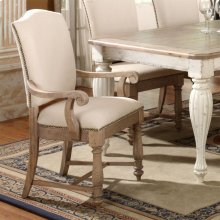 Coventry Two Tone - Upholstered Arm Chair - Weathered Driftwood Finish