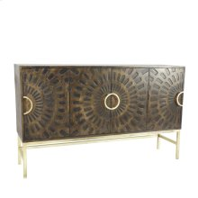 Carved Wood 4 Door Cabinet, Brown