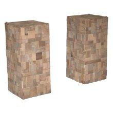 (LS) Sequoia Console Table Base (2pcs) (W/O Glass) (13X13X30 (per-pc)