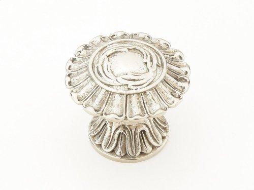 "Solid Brass, Symphony, Swans, Round Knob, 1-1/2"" diameter, White Brass finish"