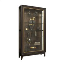 Sliding Front Display Cabinet With Metal Trim and Exotic Wood Veneer Back Product Image